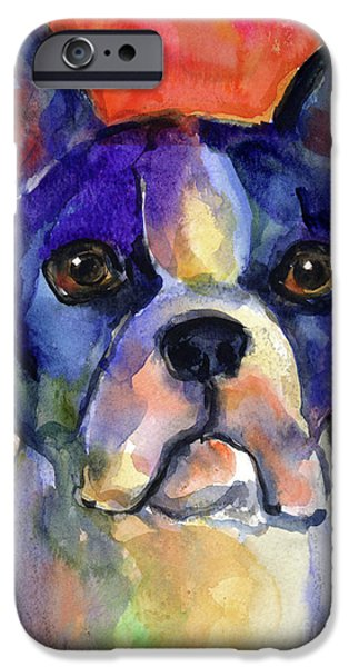 Puppy Drawings iPhone Cases - Boston Terrier dog painting  iPhone Case by Svetlana Novikova