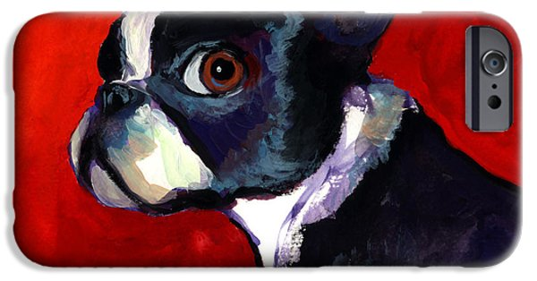 Boston iPhone Cases - Boston Terrier dog portrait 2 iPhone Case by Svetlana Novikova