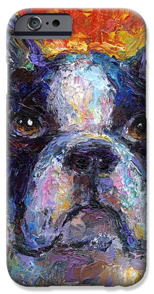 Puppy Drawings iPhone Cases - Boston Terrier Impressionistic portrait painting iPhone Case by Svetlana Novikova