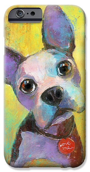 Boston Paintings iPhone Cases - Boston Terrier Puppy dog painting print iPhone Case by Svetlana Novikova