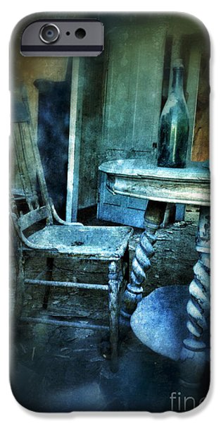 Bottle on Table in Abandoned House iPhone Case by Jill Battaglia
