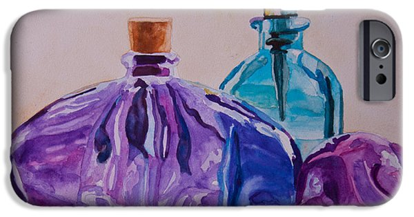 Bottles iPhone Cases - Bottles and Stoppers iPhone Case by Jenny Armitage