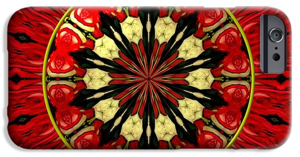 Flora iPhone Cases - Bouquet of Roses kaleidoscope 8 iPhone Case by Rose Santuci-Sofranko