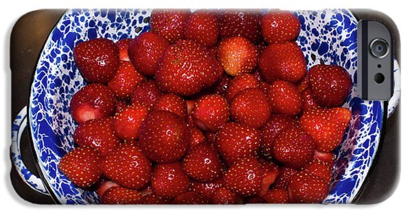 Stainless Steel iPhone Cases - Bowl of Strawberries 1 iPhone Case by Douglas Barnett
