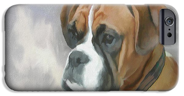 Dog Close-up Paintings iPhone Cases - Boxer iPhone Case by Gael Keevil