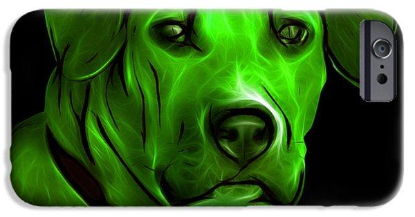 Boxer Digital iPhone Cases - Boxer Pitbull Mix Pop Art - Green iPhone Case by James Ahn