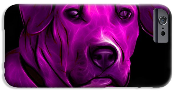 Boxer Digital Art iPhone Cases - Boxer Pitbull Mix Pop Art - Magenta iPhone Case by James Ahn