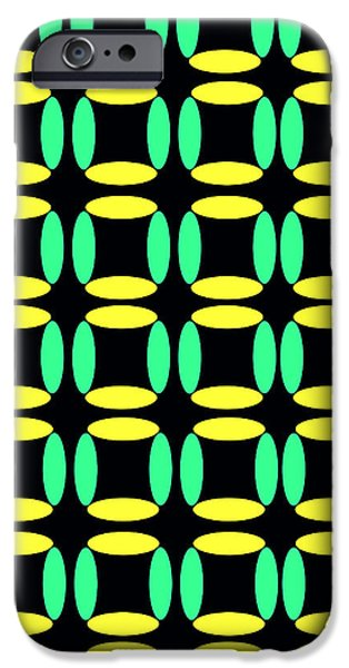 Green Geometry Art iPhone Cases - Boxes iPhone Case by Louisa Knight
