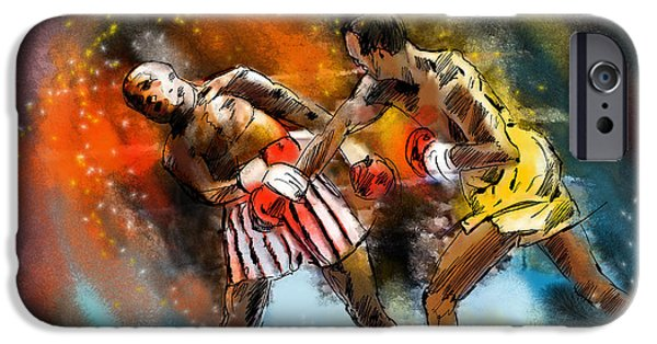 Boxer Digital Art iPhone Cases - Boxing 01 iPhone Case by Miki De Goodaboom