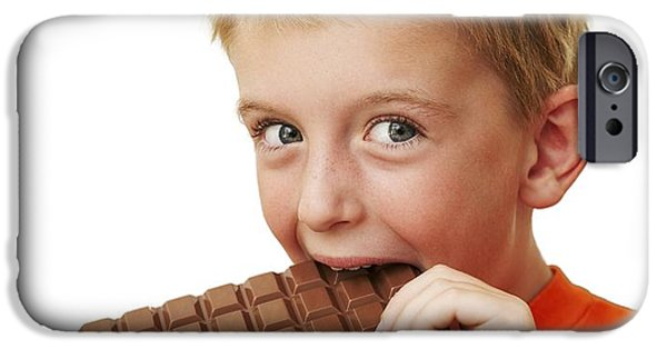 Eating Disorders iPhone Cases - Boy Eating Chocolate iPhone Case by Ian Boddy