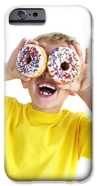 Doughnuts iPhone Cases - Boy Playing With Doughnuts iPhone Case by Ian Boddy