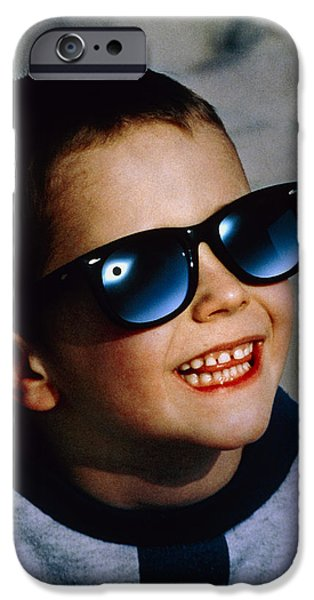 Boy Viewing A Total Solar Eclipse iPhone Case by Detlev Van Ravenswaay