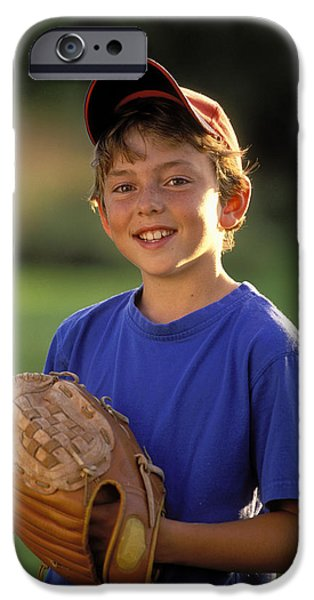 Boy With Baseball Glove iPhone Case by John Sylvester