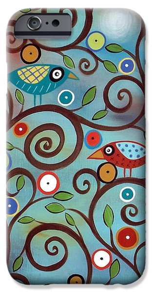 Tree Art Print Paintings iPhone Cases - Branch Birds iPhone Case by Karla Gerard