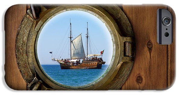 Sailboat Ocean iPhone Cases - Brass Porthole iPhone Case by Carlos Caetano