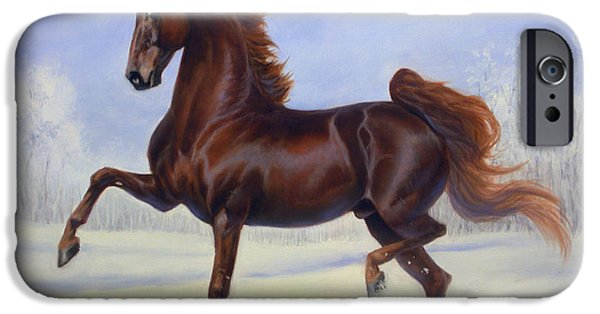 American Saddlebred iPhone Cases - Bravo Blue iPhone Case by Jeanne Newton Schoborg