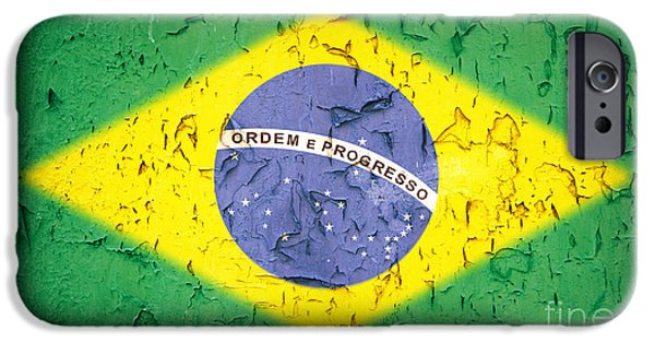 Nation iPhone Cases - Brazil Flag vintage iPhone Case by Jane Rix