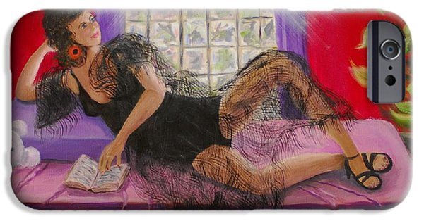 Prostitutes Paintings iPhone Cases - Break Between Clients iPhone Case by Quwatha Valentine
