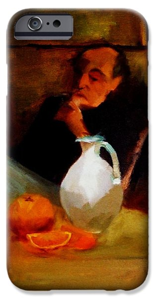 Chin On Hand Paintings iPhone Cases - Breaktime with Oranges and Milk Jug Man Deep in Philosophical Thought with Mysterious Boy Servant iPhone Case by M Zimmerman MendyZ