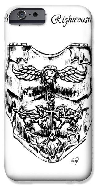 Jesus Drawings iPhone Cases - Breastplate of Righteousness iPhone Case by Maryn Crawford