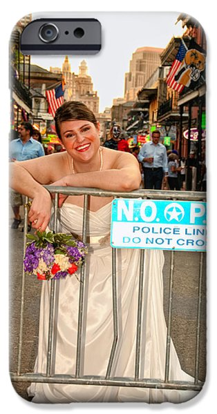 Bride and the Barricade on Bourbon Street iPhone Case by Kathleen K Parker