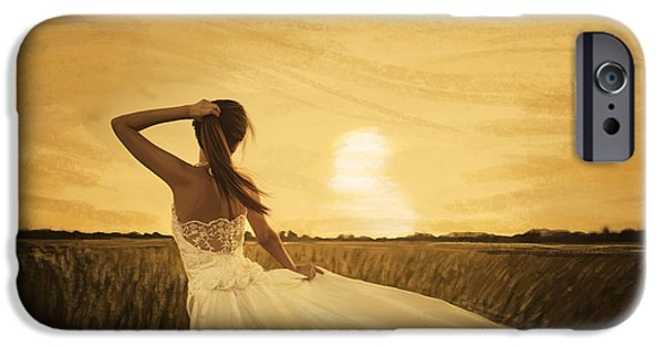 Lady Pastels iPhone Cases - Bride In Yellow Field On Sunset  iPhone Case by Setsiri Silapasuwanchai
