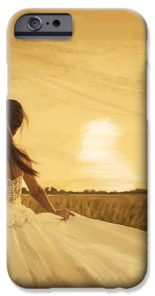 bride in yellow field on sunset  iPhone Case by Setsiri Silapasuwanchai