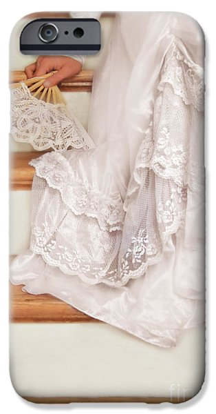 Youthful iPhone Cases - Bride Sitting on Stairs with Lace Fan iPhone Case by Jill Battaglia