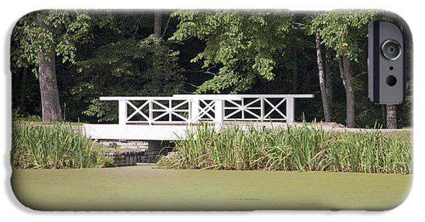 Alga iPhone Cases - Bridge Over an Algae Covered Pond iPhone Case by Jaak Nilson
