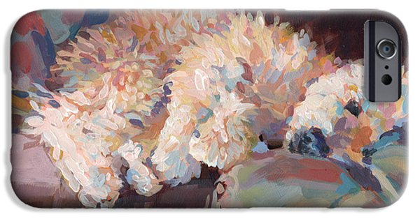 Puppy Paintings iPhone Cases - Brie as Odalisque iPhone Case by Kimberly Santini