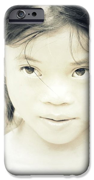 Little Girl iPhone Cases - Bright Eyes iPhone Case by Danny Van den Groenendael