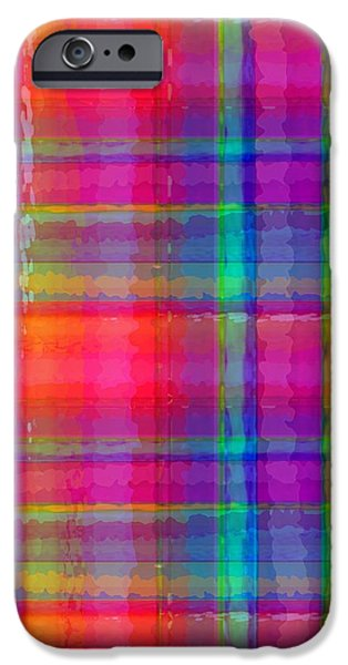 Louisa iPhone Cases - Bright Plaid iPhone Case by Louisa Knight