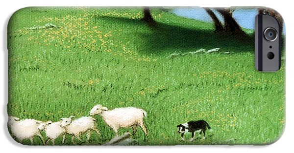 Farm Landscape Pastels iPhone Cases - Bringing Them In  iPhone Case by Jan Amiss
