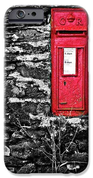 Lichen iPhone Cases - British Red Post Box iPhone Case by Meirion Matthias