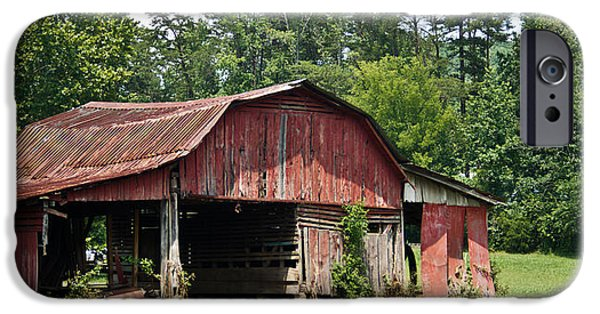 Tennessee Hay Bales iPhone Cases - Broad Roofed Barn 1 iPhone Case by Douglas Barnett