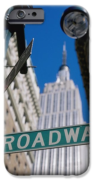 Broadway Sign And Empire State Building iPhone Case by Axiom Photographic