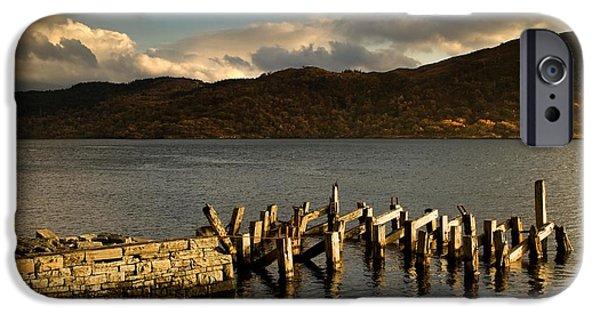 Lake Front iPhone Cases - Broken Dock, Loch Sunart, Scotland iPhone Case by John Short