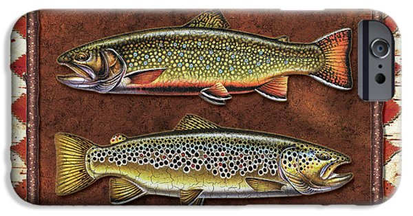 Cabin iPhone Cases - Brook and Brown Trout Lodge iPhone Case by JQ Licensing