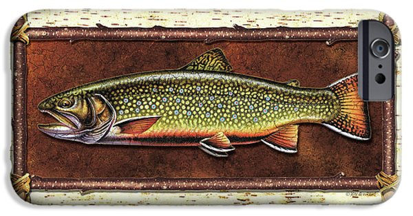 Trout Paintings iPhone Cases - Brook Trout Lodge iPhone Case by JQ Licensing