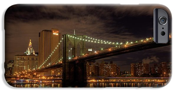 Empire State iPhone Cases - Brooklyn Bridge at Dusk iPhone Case by Shawn Everhart