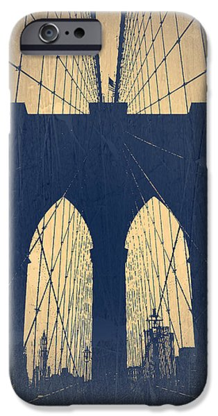Brooklyn Bridge Digital Art iPhone Cases - Brooklyn Bridge Blue iPhone Case by Naxart Studio