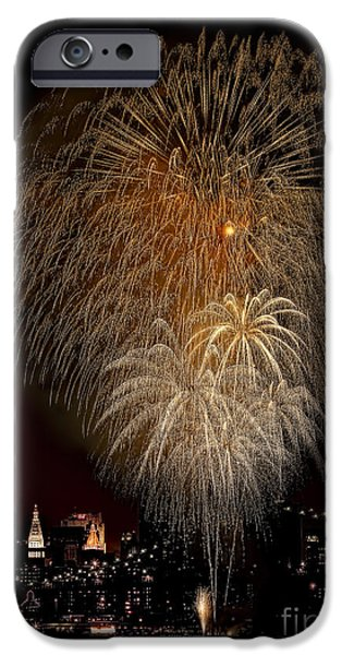 4th July iPhone Cases - Brooklyn Bridge Celebrates iPhone Case by Susan Candelario