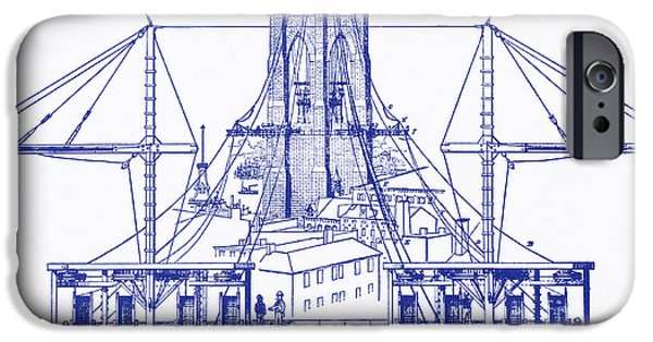 Nineteenth iPhone Cases - Brooklyn Bridge Diagram iPhone Case by Photo Researchers