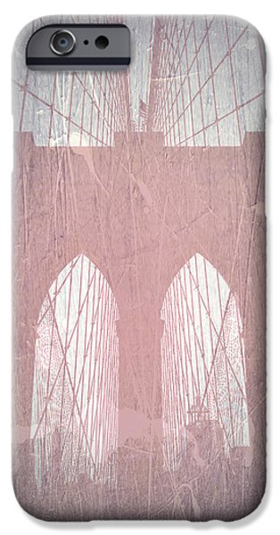 Old Photos iPhone Cases - Brooklyn Bridge Red iPhone Case by Naxart Studio