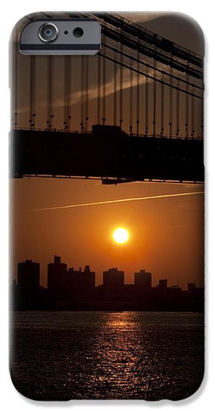 Brooklyn Bridge Digital Art iPhone Cases - Brooklyn Bridge Sunrise iPhone Case by Bill Cannon