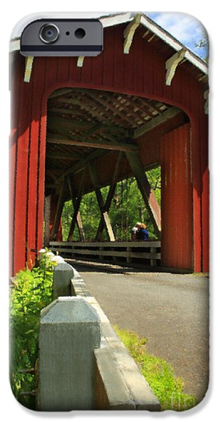 Covered Bridge iPhone Cases - Brookwood Covered Bridge iPhone Case by James Eddy