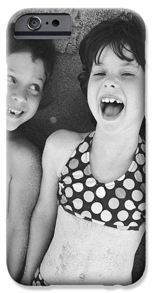 Brother And Sister On Beach iPhone Case by Michelle Quance