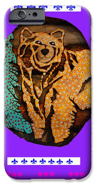 Log Cabin Mixed Media iPhone Cases - Brown Bear In My Cabin iPhone Case by Robert Margetts
