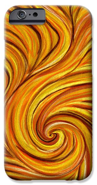 Abstract Expressionist Pastels iPhone Cases - Brown Swirl iPhone Case by Hakon Soreide