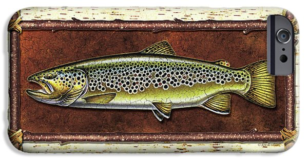 Trout Paintings iPhone Cases - Brown Trout Lodge iPhone Case by JQ Licensing